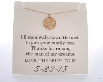 Mother of The Groom Necklace - Mother of the Groom Gifts - Family Tree, Wedding Gifts,  Wedding Jewelry, Mother of the Groom Presents - Gold