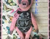 Spring Sale, antique, prim Panda teddy bear, Brady Bears, hafair, ooak, soft sculpture, Shabby Paris chic