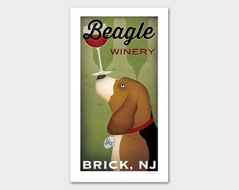 FREE Custom Personalized BEAGLE Cellars Vineyard Wine Company graphic art giclee print