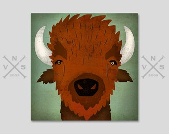 BISON Buffalo Graphic Wall Art Stretched CANVAS Nursery Art signed