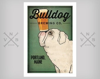 Customize Personalize -- BULLDOG Brewing Co. Beer  ILLUSTRATION Giclee Print signed