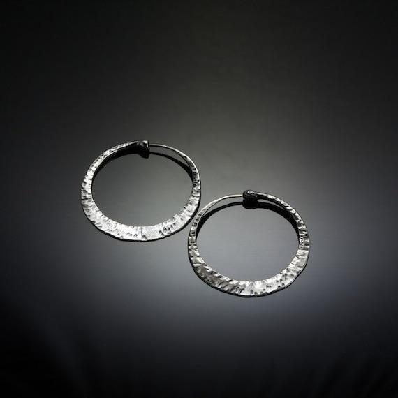 Primitive Finish Silver Hoop Earrings // Medium Sterling Silver Hoops