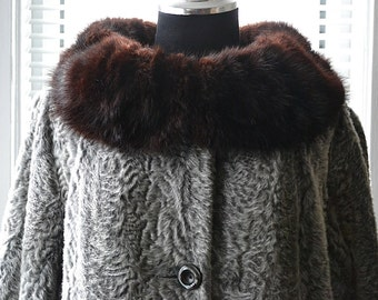 Vintage 60s Coat - Silver Moonlight - Mink Collar Faux Persian Jacket - m/L
