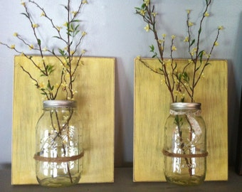 Mason jar wall decor, hanging mason jar wall vase , rustic wall sconces, farmhouse decor, set of 2 wall vases, yellow wall vases