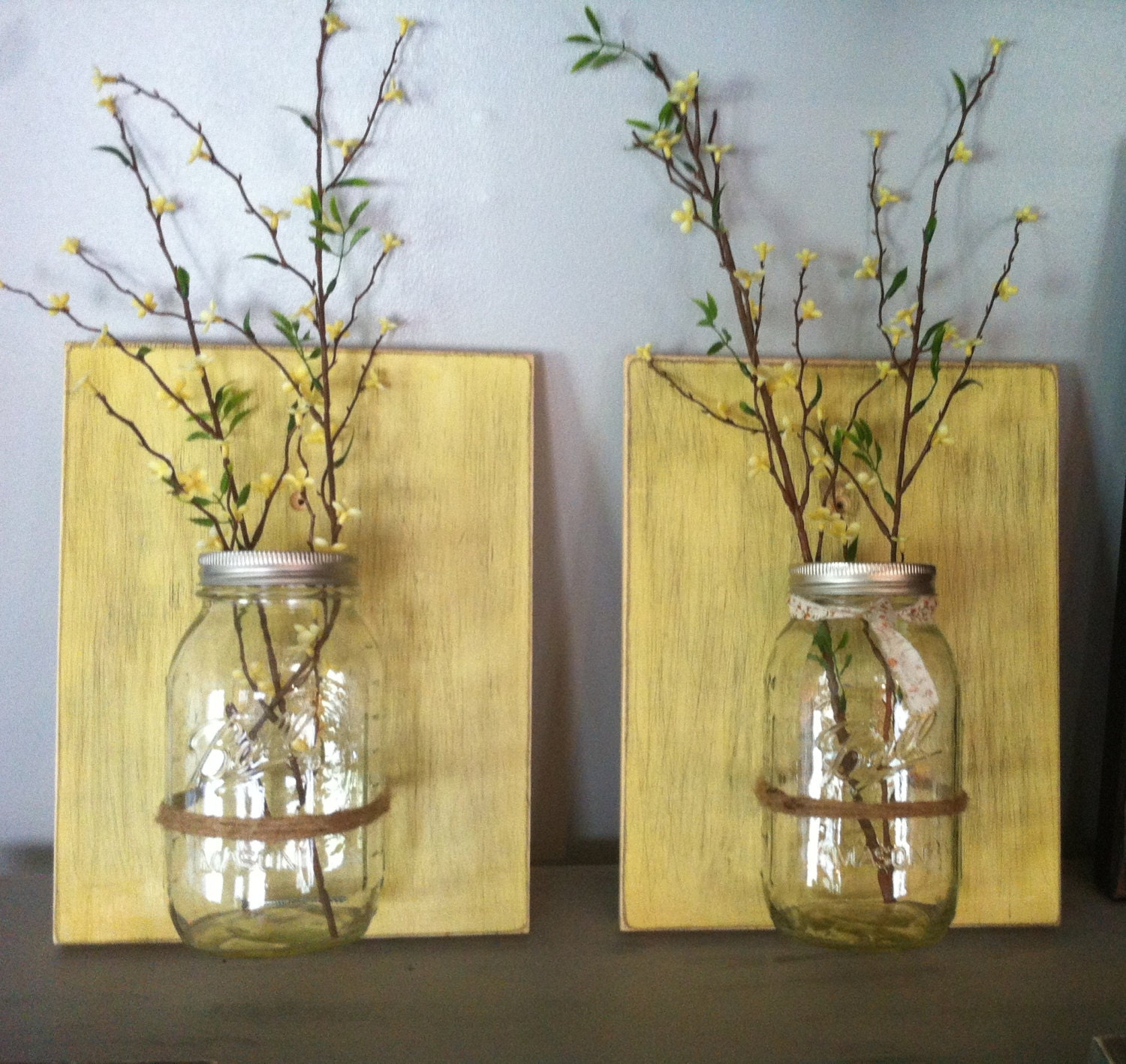 Wall Decor With Mason Jars : Mason jar wall decor hanging vase rustic