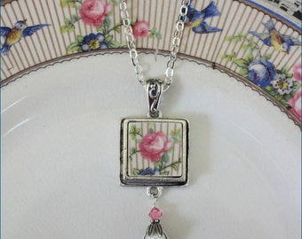 Handcrafted Broken China Jewelry, Lovely Pink Rose Floral Square Pendant Necklace