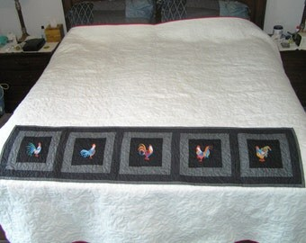 Colorful rooster quilted table runner