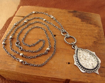 Magdalena--Long Oxidized Sterling Silver Necklace--Vintage Clear Glass Cabochon