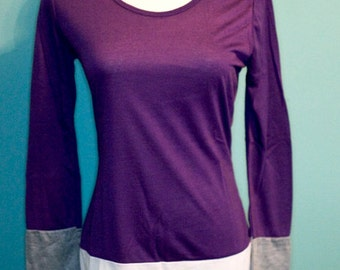 Purple White and Gray Long Tunic Top -Small