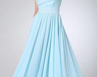 Light blue chiffon dress maxi prom dress women dress (1210)