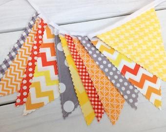 Banner Bunting, Photography Prop, Fabric Flags, Birthday Decoration, Nursery Decor - Gray, Orange, Yellow, Grey, Chevron, Dots, Geometric