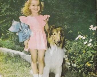 Vintage 1940s Photograph Girl and Collie Dog Large Framable Print