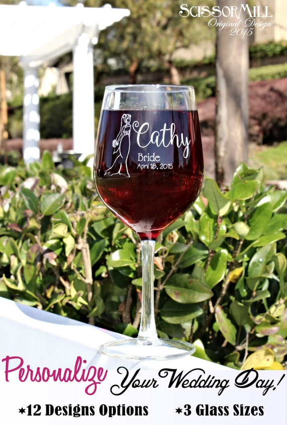 Personalized Bridesmaid Wine Glasses Laser etched, Bridesmaid Gifts, The Bachelorette party, stock the bar, bridal shower favor, thank you