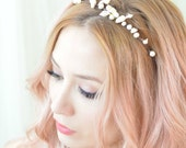 Pearl crown, mermaid crown, ivory headpiece, wedding tiara, bridal headband, hair accessory - Ondine