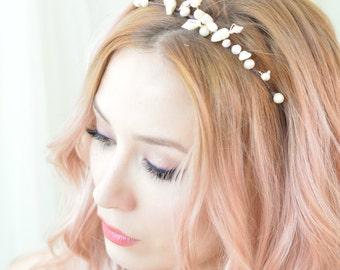 Pearl crown, mermaid crown, ivory headpiece, wedding tiara, bridal headband, hair accessory - Ondine