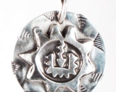 Mayan Sun Talisman - Fine Silver Pendant or Necklace or Keyring