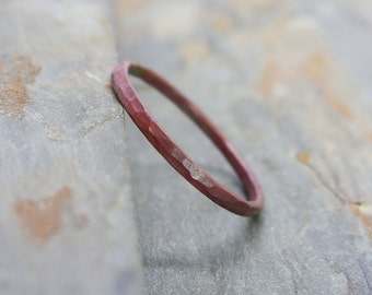 Single Thin Fire Stained Copper Stacking Ring - Hammered Copper Stacking Band with Patina