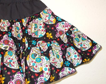 Sugar Skulls Folkloric Skulls Day of the Dead Ruffled Twirly Skirt Infants Toddlers and Girl's