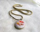 Locket Necklace Enamel Zinnia Flower Pendant Brazilian Chain Vintage 70s Jewelry