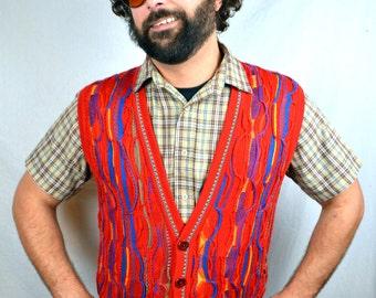 Vintage 80s 90s COOGI Style - Australia Rainbow Cosby Sweater Vest - Merino Wool