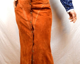 Vintage 1970s Suede Leather Western Maxi Skirt