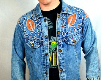 WOW 80s Denim Bejeweled Bedazzled Ridiculous Jacket