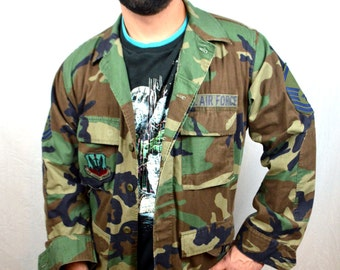 Vintage Camo Shirt - Military Grunge Camouflage Button Up - USA United States Air Force