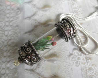 Spring Red, Yellow, Pink Handmade Tulips Terrarium Reliquary Pendant w/Reindeer Moss-Symbolizes Eternal,Hopeless Love-Unique & One of a Kind