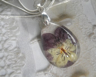 Soft Yellow & Purple Pansy Glass Domed Teardrop Pressed Flower Pendant-Symbolizes Loyalty-Nature's Wearable Art-Gifts Under 35