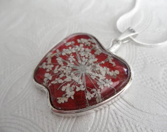 Apple Of My Eye-Apple Shaped Pendant-Queen Anne's Lace Beneath Glass Atop Apple Red-Symbolizes Peace-Teacher's Gift-Gifts Under 30
