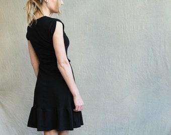 Laila Dress, women's dress, little black dress, modern jersey dress- made to order