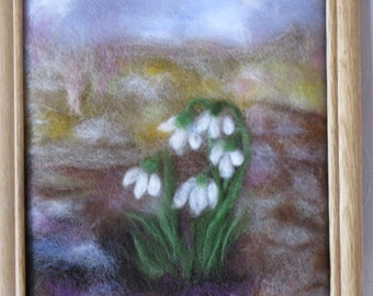 Snowdrops (smaller version) - wool fiber art , wall hanging , wool picture in waldorf tradition
