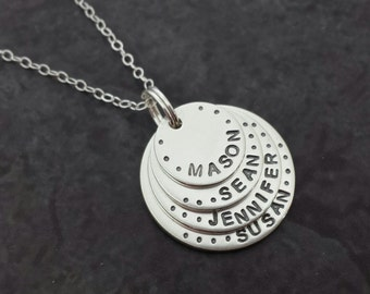 Hand Stamped Mommy Necklace - 4 Layer Stacked Personalized Necklace Sterling Silver Mother Grandmother Family