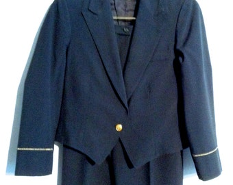 Vintage United Airlines Stewardess Uniform Suit. Jacket & Pants.  Size 10R.   Navy Blue and White.  Gold United Buttons.  Come Fly Me!