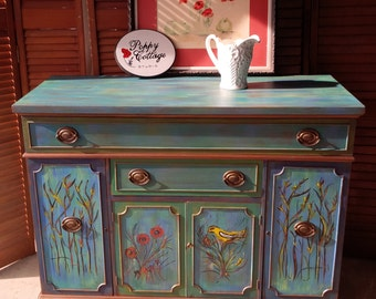 Credenza Mardi Gras Whimsical Parade of Color Vintage Sideboard Poppy Cottage Hand Painted Custom Painted Furniture