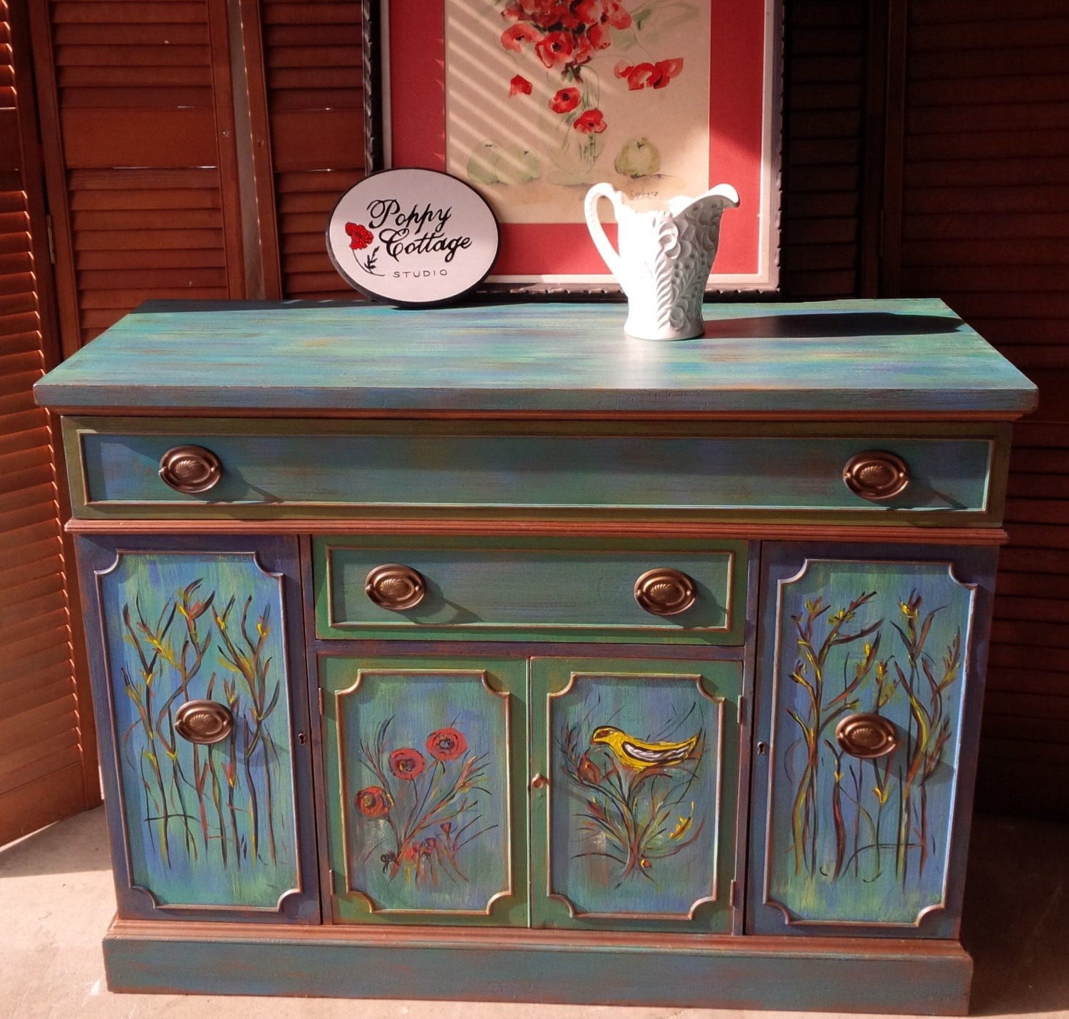 credenza artisan hand painted finish parade of color vintage