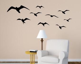 Seagull wall decal, flying birds sticker, sea bird, flock decal, den wall decor, college dorm room decal, girls room, teen, 28 X 76 inches