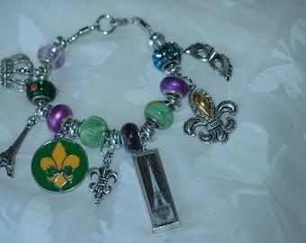 Mardi Gras Charm Bracelet ,  Fleur De Lis Bangle , Paris Themed Charm Bracelet , Paris Charm Bracelet