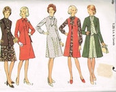 Dress and Cardigan Vintage 1970s Sewing Pattern, Style 4406 Knee Length Dress with Neck Tie Size 16 Bust 38
