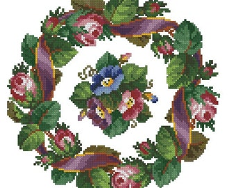 Wreath with roses, ribbon and anemones antique cross stitch pattern