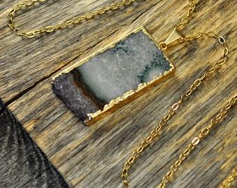 Amethyst Necklace, Amethyst Pendant, Amethyst Jewelry, Amethyst Slice Necklace, Amethyst Gold Necklace, Amethyst Stone, 14k Gold Fill Chain
