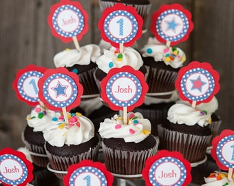 4th of July Cupcake Toppers, Patriotic Birthday Party Decorations, Patriotic Cupcake Toppers, 4th of July Birthday Party in Red White Blue