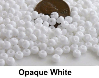 Opaque White 6/0 Czech Glass Seed Beads 10-Grams