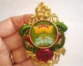 Vintage  Flower Jewelry Brooch Gold Tone KL Design