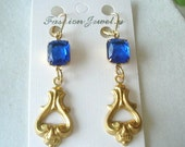 Royal Blue Faceted Glass  Dangle Vintage Jewelry Earrings