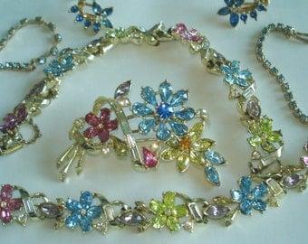 Signed Crown Trifari Vintage Jewelry Flower Multi Color Stone Gold Tone Necklace Bracelet Brooch Earrings