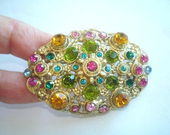 Multi Color Rhinestone  Gold Tone Brooch