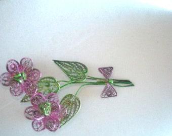 Silver Filigree Multi Tone Flower Brooch