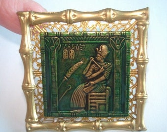 Egyptian Revival  Vintage Jewelry Gold Tone Brooch