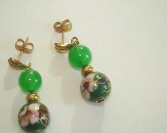 Asian Flower Cloisonne Green Jade Beads Earrings  Multi Tone